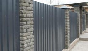 Забор из профнастила кирпичные столбы ЗП-6